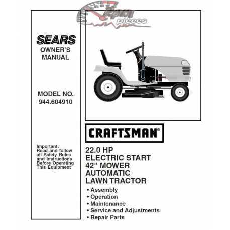 Craftsman Tractor Parts Manual 944.604910