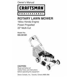 Craftsman lawn mower parts Manual 944.361361
