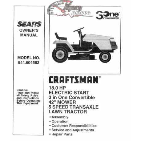 Craftsman Tractor Parts Manual 944.604582