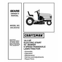 Craftsman Tractor Parts Manual 944.604750