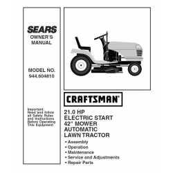 Craftsman Tractor Parts Manual 944.604810
