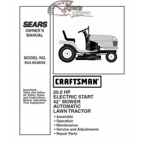 Craftsman Tractor Parts Manual 944.604830