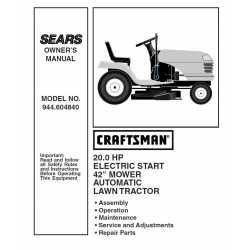 Craftsman Tractor Parts Manual 944.604840