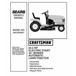 Craftsman Tractor Parts Manual 944.604841