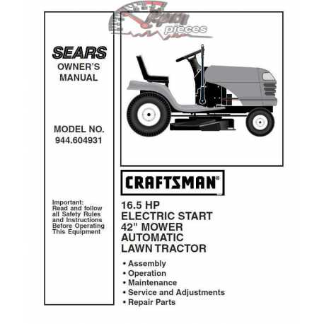 Craftsman Tractor Parts Manual 944.604931