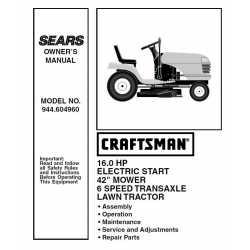 Craftsman Tractor Parts Manual 944.604960