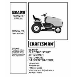 Craftsman Tractor Parts Manual 944.605080