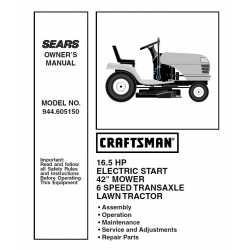 Craftsman Tractor Parts Manual 944.605150