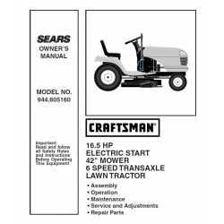 Craftsman Tractor Parts Manual 944.605160