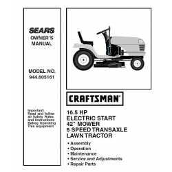 Craftsman Tractor Parts Manual 944.605161