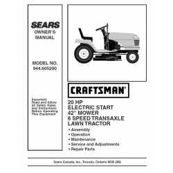 Craftsman Tractor Parts Manual 944.605200