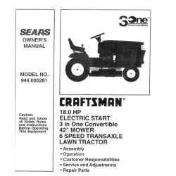 Craftsman Tractor Parts Manual 944.605281