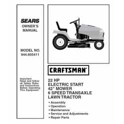 Craftsman Tractor Parts Manual 944.605411