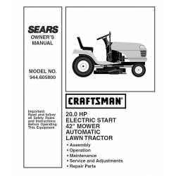 Craftsman Tractor Parts Manual 944.605800