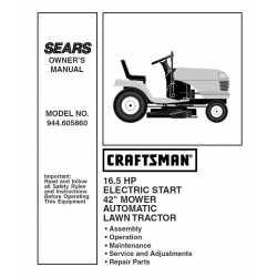 Craftsman Tractor Parts Manual 944.605860