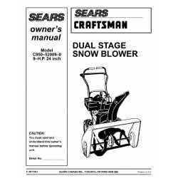 Craftsman snowblower Parts Manual C950-52009-0