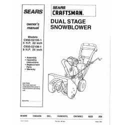 Craftsman snowblower Parts Manual C950-52108-1
