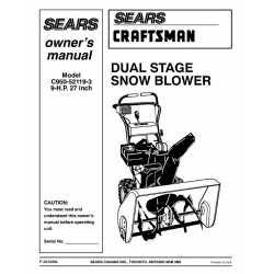 Craftsman snowblower Parts Manual C950-52119-3