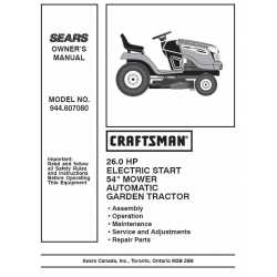 Craftsman Tractor Parts Manual 944.607080