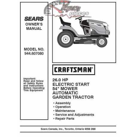 Craftsman Tractor Parts Manual 944.607080