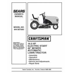 Craftsman Tractor Parts Manual 944.607550