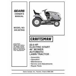 Craftsman Tractor Parts Manual 944.607840