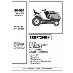 Craftsman Tractor Parts Manual 944.607860