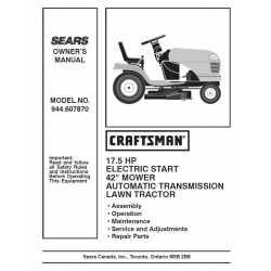 Craftsman Tractor Parts Manual 944.607870