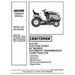 Craftsman Tractor Parts Manual 944.607930
