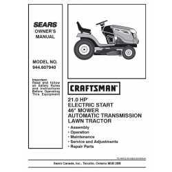 Craftsman Tractor Parts Manual 944.607940