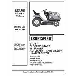 Craftsman Tractor Parts Manual 944.607941