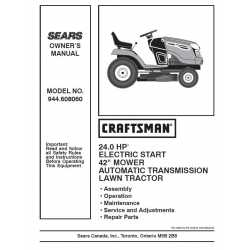 Craftsman Tractor Parts Manual 944.608060