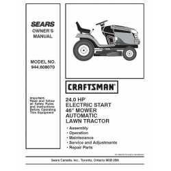 Craftsman Tractor Parts Manual 944.608070