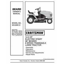 Craftsman Tractor Parts Manual 944.608131