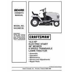 Craftsman Tractor Parts Manual 944.608130