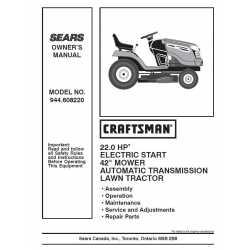 Craftsman Tractor Parts Manual 944.608220