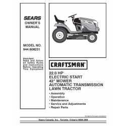 Craftsman Tractor Parts Manual 944.608231