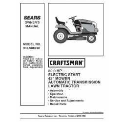 Craftsman Tractor Parts Manual 944.608240