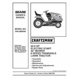 Craftsman Tractor Parts Manual 944.608340