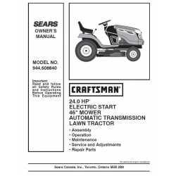 Craftsman Tractor Parts Manual 944.608840