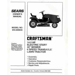 Craftsman Tractor Parts Manual 944.608920