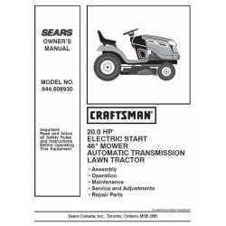 Craftsman Tractor Parts Manual 944.608930