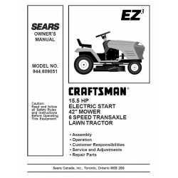 Craftsman Tractor Parts Manual 944.609051
