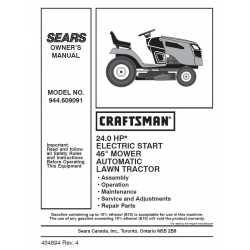 Craftsman Tractor Parts Manual 944.609091