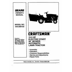 Craftsman Tractor Parts Manual 944.609150
