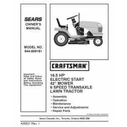 Craftsman Tractor Parts Manual 944.609161