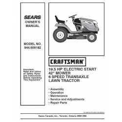 Craftsman Tractor Parts Manual 944.609182