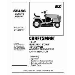 Craftsman Tractor Parts Manual 944.609191