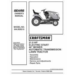 Craftsman Tractor Parts Manual 944.609210