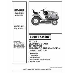 Craftsman Tractor Parts Manual 944.609220